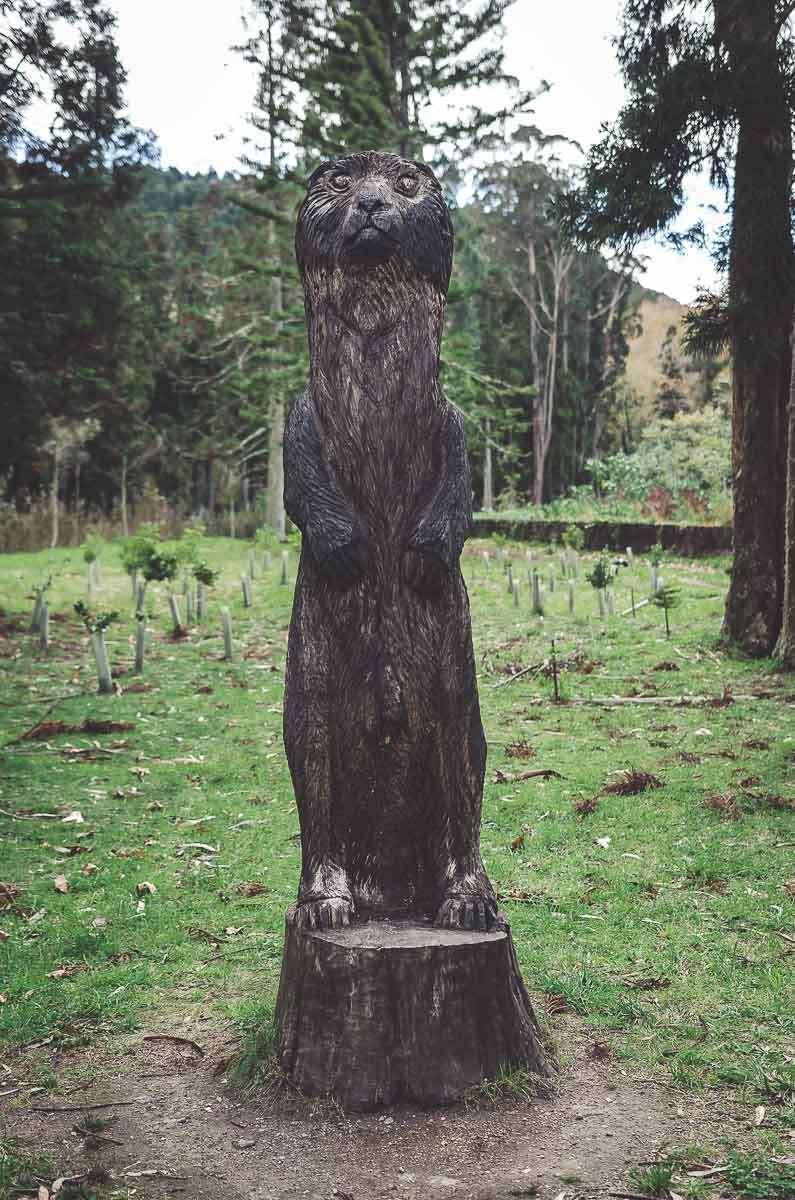 Ein wilder Otter aus Holz im Jardim da lagoa das furnas.