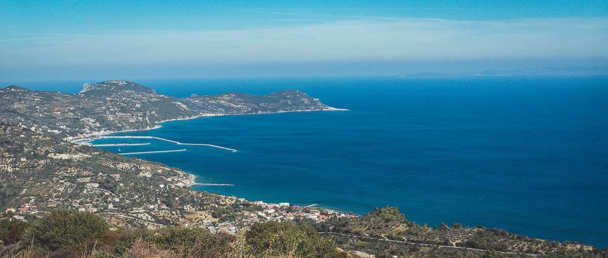 Aussicht von der Ekklisia Evaggelistria in der Nähe von Platana.