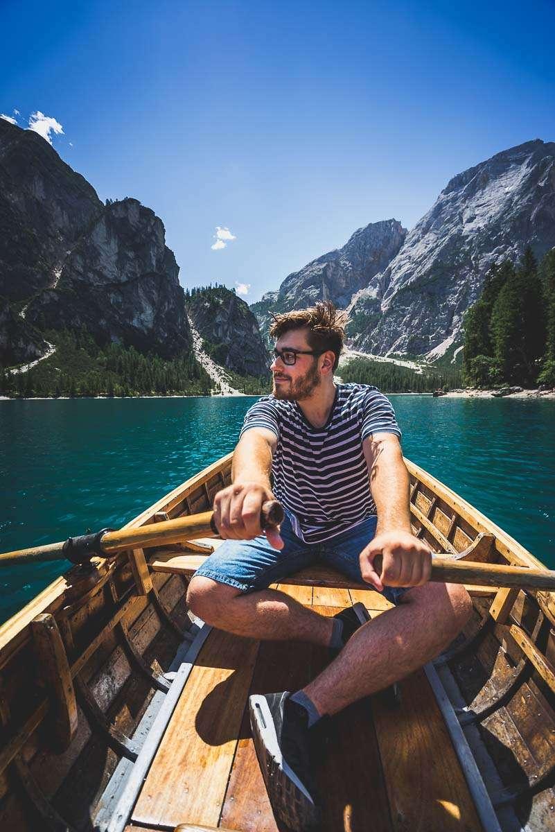 Pragser Wildsee - Boot fahren auf dem Lago di Braies