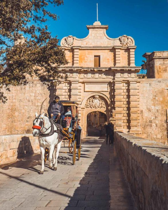 Hauptor mit Kutsche Medina Malta